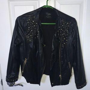 Gold studded leather jacket